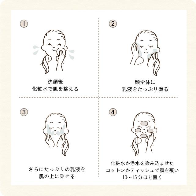 洗顔後化粧水で肌を整え、顔全体に乳液をたっぷり塗ります。さらにたっぷりの乳液を肌に乗せ、化粧水か浄水を染み込ませたコットンかティッシュで顔を覆い10〜15分ほど置きましょう