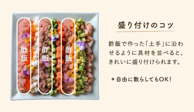 盛り付けのコツ:酢飯で作った土手に沿わせるように具材を並べると、きれいに盛り付けられます。