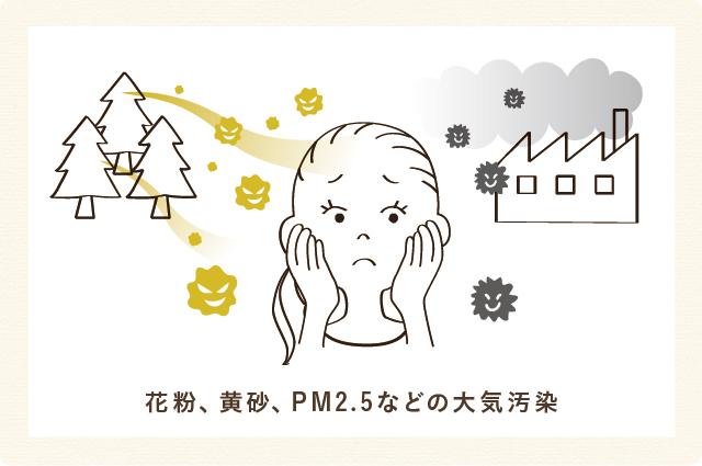 花粉、黄砂、PM2.5などの大気汚染