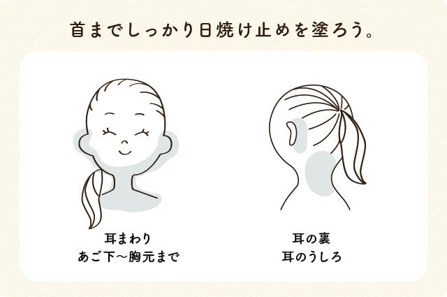 耳周りや顎下・首の後ろも塗り忘れがないよう日焼け止めをしっかり塗りましょう